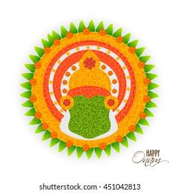 Beautiful Rangoli design with illustration of Kathakali Dancer Face for South Indian Famous Festival, Happy Onam celebration.