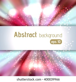 Beautiful rays of light. Shiny eps 10 background. Colorful radial radiant effect. Vector illustration. Pink, white, blue colors.