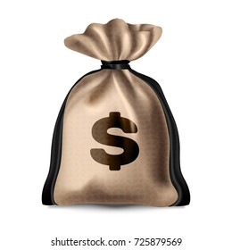 Beautiful, realistic cloth bag with money and dollar sign. Beige color with linen texture and brown leather belts