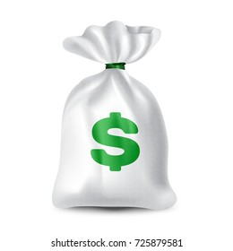 Beautiful, realistic cloth bag with money and dollar sign. White color with linen texture