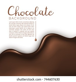Beautiful, realistic glossy chocolate flow with splash and drops on white background with copy space. Vector chocolate background, banner, brochure design layout, flyer. Food illustration, 3d effect