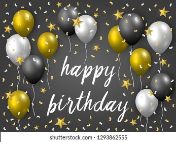 Beautiful realistic happy birthday vector greeting card with golden, silver and black flying party balloons, confetti and stars on dark grey background.