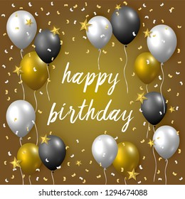 Beautiful realistic happy birthday vector greeting card with golden, silver and black flying party balloons, confetti and stars on golden background.