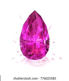 Beautiful realistic pink gemstone. Isolated on white. Vector illustration. Diamond.