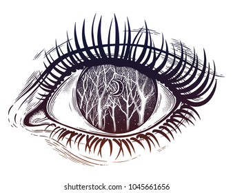 Beautiful realistic psychedelic eye of a human girl woodland winter night tree twigs scenery with crescent moon, forest night sky. Tattoo, magic outdoors, mystic night. Isolated vector illustration.