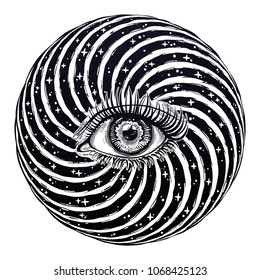 Beautiful realistic psychedelic eye of a human in vortex hypnotic warp hole, looking into subconsious. Isolated vector illustration. Surreal trippy hippie art, sticker, tattoo. Trendy print.