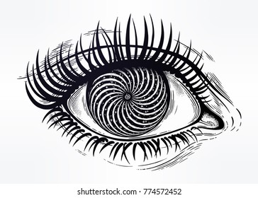 Beautiful realistic psychedelic eye of a human girl with vortex hypnotic pupil, looking into subconsious. Isolated vector illustration. Surreal trippy hippie art, sticker, tattoo. Trendy print.