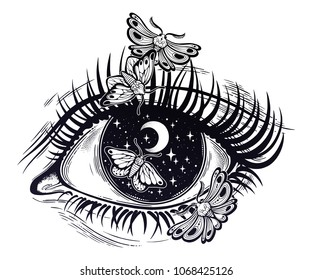 Beautiful realistic psychedelic eye pupil as a starry sky with moon, looking into a night sky with moth butterfly. Isolated vector illustration. Surreal trippy art, sticker, tattoo. Trendy print.
