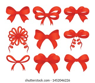 Beautiful realistic red ribbon. Set of different shape red bows realistic decoration for holiday gifts and Christmas cards or birthday party decor isolated on white. Vector
