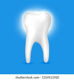 Beautiful realistic shiny white tooth dentist vector on blue background.
