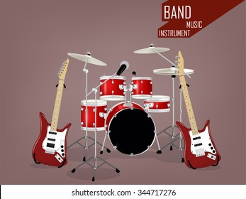 beautiful realistic vector of band music instrument