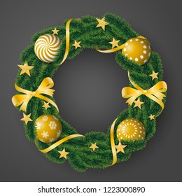 Beautiful realistic vector of coniferous wreath with sumptuous golden bulbs and decorated with ribbons and stars on gray background.