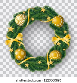 Beautiful realistic vector of coniferous wreath with sumptuous golden bulbs and decorated with ribbons and stars on transparent background.