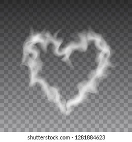 Beautiful realistic vector of smoke or steam heart sign or on transparent background.