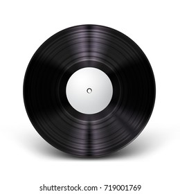 Beautiful, realistic vinyl record mockup with light effect and shadow. Vector illustration