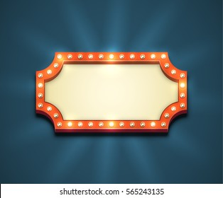 Beautiful rectangle retro empty marquee with light bulbs and yellow placeholder. Old american style red electric blank roadsign. Glowing eye-catching bright sign in the dark blue night sky.
