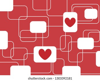 Beautiful red background with rounded rectangle or square and red heart in modern trendy geometric concept for Valentine love theme. Vintage retro style fashion wallpaper vector pattern graphic design