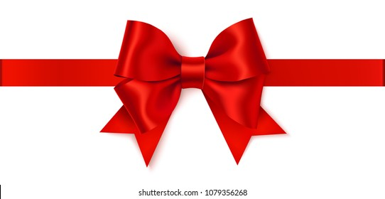 Beautiful red bow with horizontal red ribbon isolated on white background. Vector holiday decoration