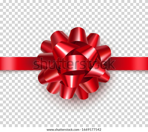 Beautiful red bow from satin tape isolated on transparent background. Realistic decoration for competition or achievement congratulation. Bright bow for diploma design vector illustration.