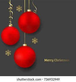 Beautiful Red Christmas ball vector illustration. New Year Celebration. Winter Snowflakes. Gold Snow pattern.
