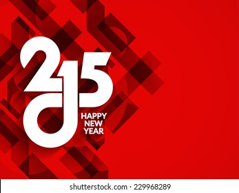 Beautiful red color modern happy new year 2015 background design.