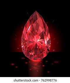 Beautiful red gem on a black background. Vector illustration.