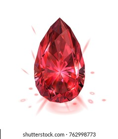 Beautiful red gemstone isolated on white background. Vector illustration.