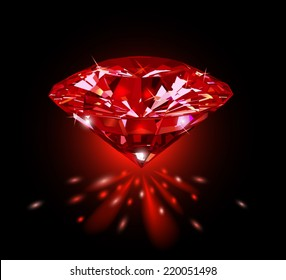 Beautiful red gemstone ruby on a black background. Vector illustration.
