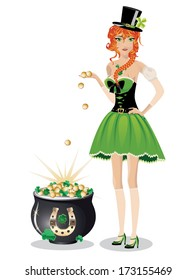 Beautiful red haired leprechaun girl with pot of gold coins on white background.