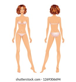 Beautiful red haired young woman. Body template, front and back views. Isolated vector illustration