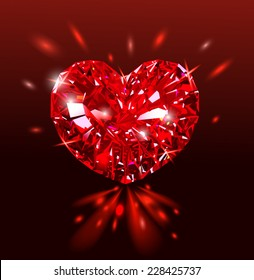 Beautiful Red heart shaped ruby gemstone on a dark background. Diamond.Vector illustration.