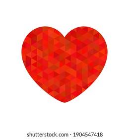 Beautiful red mosaic heart vector illustration