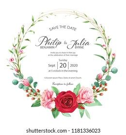 Beautiful red and pink floral, flower wedding invitation card on white background. Vector, water color. Rose, magnolia, silver dollar plant.