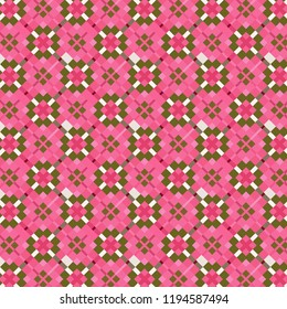beautiful red, pink and grey checkered and diamonds pattern  with irregular edge intersecting squares for textile, fabric, backdrops and backgrounds. colorful surface design with pattern swatch at eps