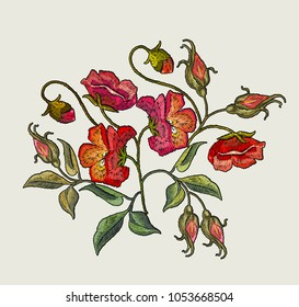 Beautiful red poppies flowers classical embroidery. Embroidery poppies flowers t-shirt design. Template for clothes, textiles, t-shirt design