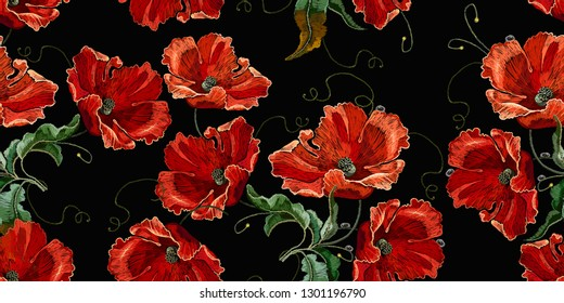 Beautiful red poppies flowers, embroidery seamless pattern. Renaissance spring style. Fashion art nouveau template for clothes, t-shirt design