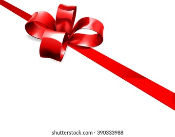 Beautiful red ribbon and bow from a Christmas, birthday or other gift