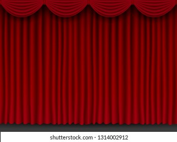 Beautiful red theatre folded curtain drapes seamless texture.