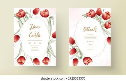 Beautiful red tulip flower wedding invitation card