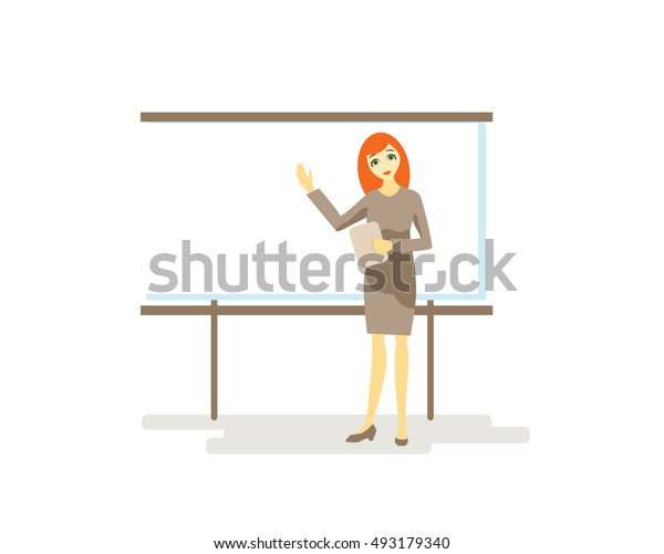 beautiful red-haired business woman leads a presentation vector illustration on a white background