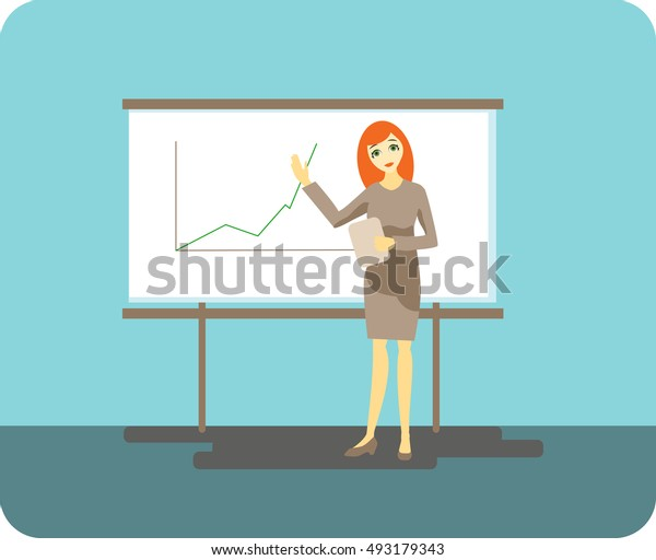 beautiful red-haired business woman leads a presentation vector illustration on a blue background