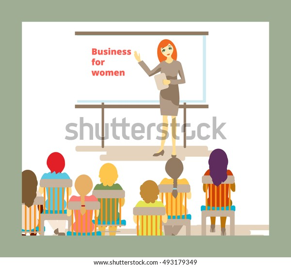 beautiful red-haired business woman leads a presentation for girls or women vector illustration