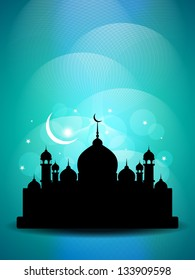Beautiful religious Eid background with mosque. vector illustration