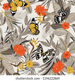 Beautiful retro vector seamless artistic tropical pattern with exotic forest. Original stylish floral background print,design for fashion,fabric and all prints , bright rainbow colors on light grey
