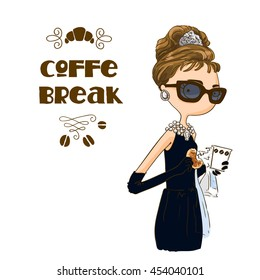 Beautiful retro woman in little black dress with a gloves drinking coffee and eating a croissant. Take away.