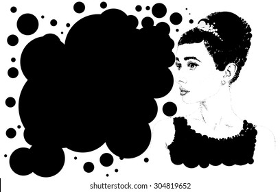 Beautiful retro woman, vector. Copy space. Illustration was created using circles.