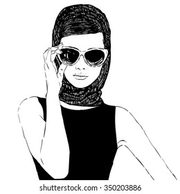 Beautiful retro woman, vector. Copy space. In little black dress with a sun glasses.