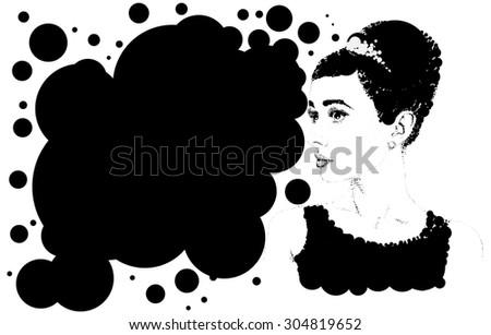 Beautiful retro woman vector