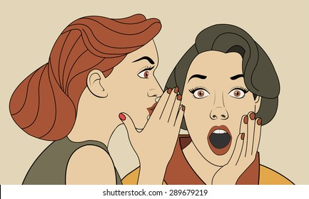 Beautiful retro woman whispering a gossip to her surprised friend. Vintage art.