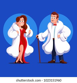 Beautiful and rich man and woman stand posing wearing expensive white animal fur coats dressed in evening dress & bowtie. VIP celebrities ready for party. Flat vector character isolated illustration.